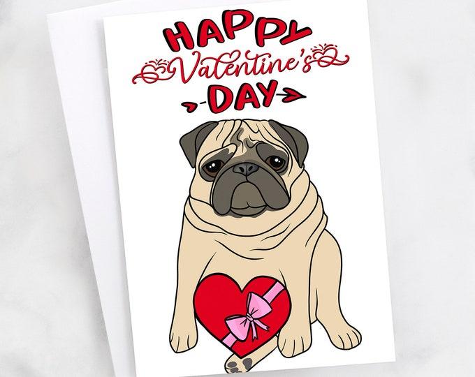 "5x7"" Pug ""Happy Valentine's Day"" Greeting Card"