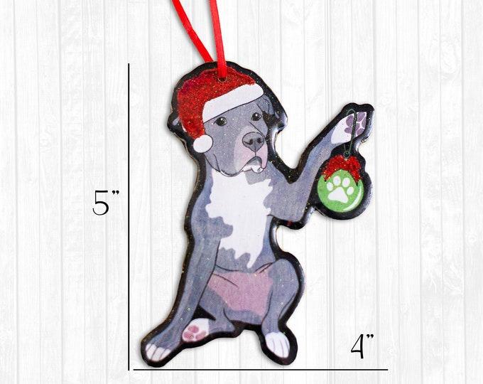 Grey Pitbull Resin Christmas Ornament