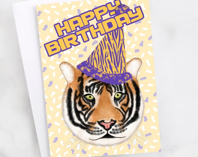 """5x7"""" Tiger """"Happy Birthday"""" Purple and Gold Birthday Card *FAST SHIPPING*"""