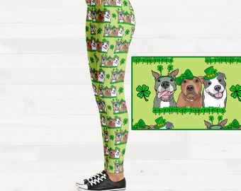 Happy St Pitties Day! Pitbull Womens St Patricks Day Brushed Suede Pit Bull Leggings FREE SHIPPING
