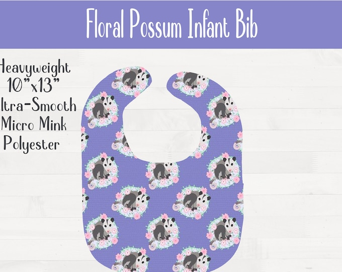 Floral Possum Infant Baby Bib Girl Opossum Nursery Baby Shower Gift *Free Shipping*