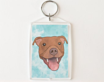 "Red Pit Bull 2x3"" Keychain Pitbull Key Chain Pittie Mom Lover Gift Accessory"