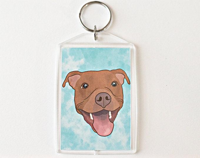 "Red Pit Bull 2x3"" Keychain Pitbull Key Chain Pittie Mom Lover Gift Accessory"