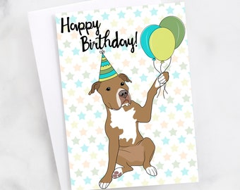 "5x7"" Red  Brown Pit Bull Happy Birthday Greeting Card Red Nose Pitbull Pittie Pibble FAST SHIPPING"