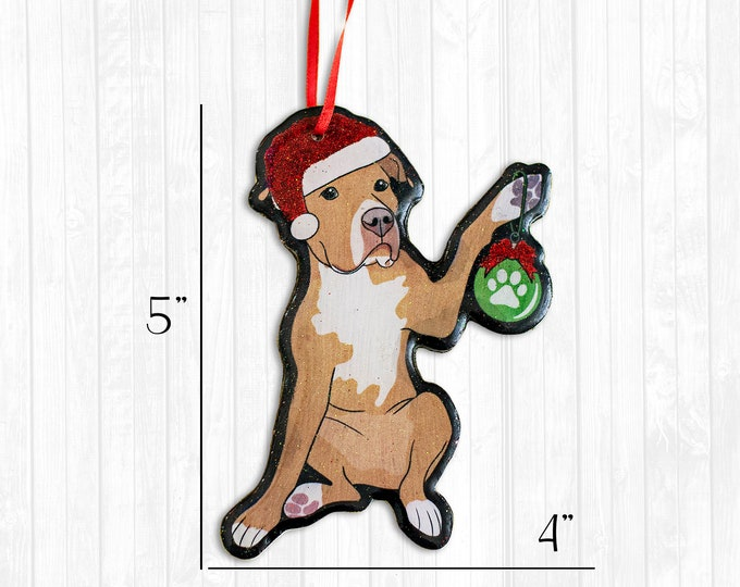 Red Pitbull Resin Christmas Ornament