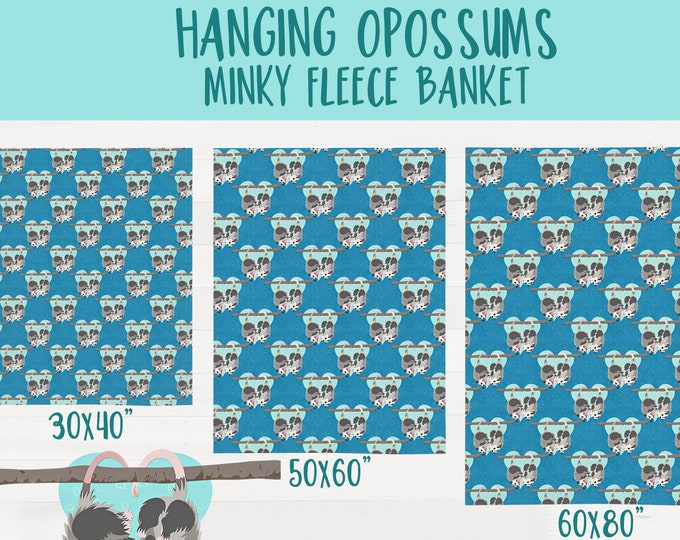 Hanging Possums Ultra Soft Minky Throw Blanket Opossum Nursery Baby Shower Gift *Free Shipping*