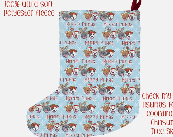"Christmas Stocking ""Merry Pitmas"" 12x20"" Pit Bull Pitbull Christmas Holiday Pitmas Decor"