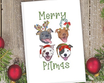 "5x7"" ""Merry Pitmas"" Christmas Card Vertical Orientation Pit Bull Pitbull Pittie Pibble Pitbull Holiday FAST SHIPPING"