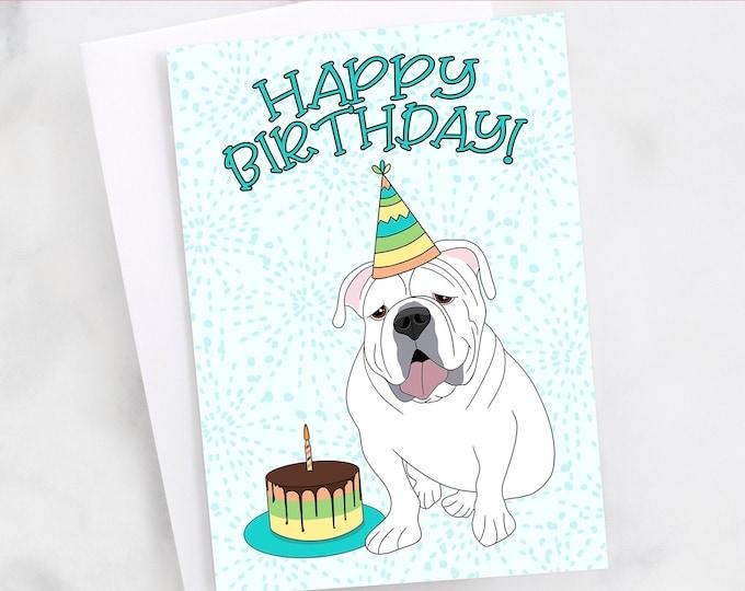 """5x7"""" English Bulldog Happy Birthday Card  FAST SHIPPING"""
