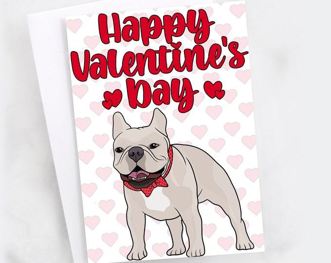 "5x7"" French Bulldog ""Happy Valentines Day"" Valentine Card Lilac Frenchie French Bull Dog Greeting Card"