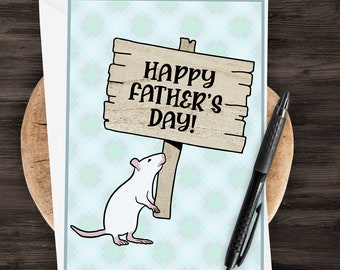 "5x7"" White Rat ""Happy Father's Day"" Greeting Card Father's Day Rat Dad *FAST SHIPPING*"