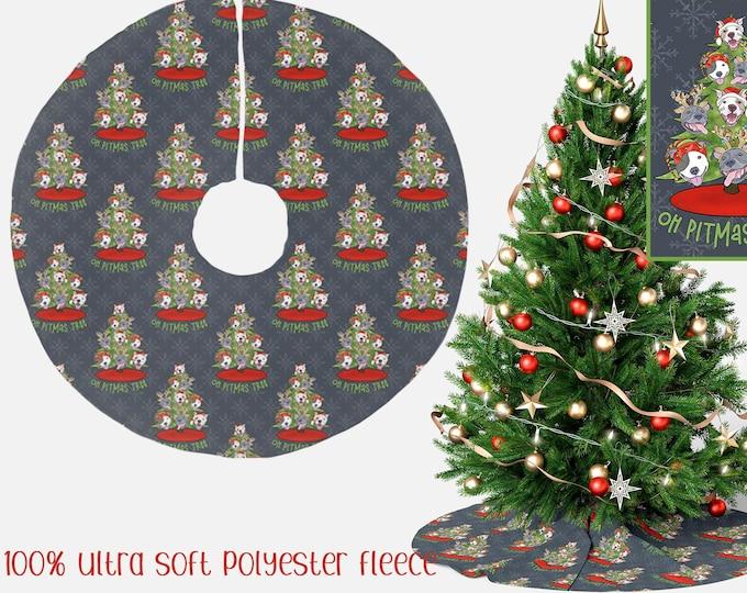 "Christmas Tree Skirt ""Oh Pitmas Tree"" 44"" Pit Bull Pitbull Christmas Holiday Pitmas Decor"