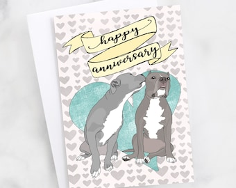 "5x7"" Pit Bull ""Happy Anniversary"" Card Pitbull Anniversary Greeting Card FAST SHIPPING"