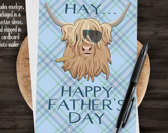 "5x7"" Highland Cow Happy Father's Day Greeting Card *FAST SHIPPING*"