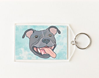 "Grey Pit Bull 2x3"" Keychain Pitbull Key Chain Pittie Mom Lover Gift Accessory"