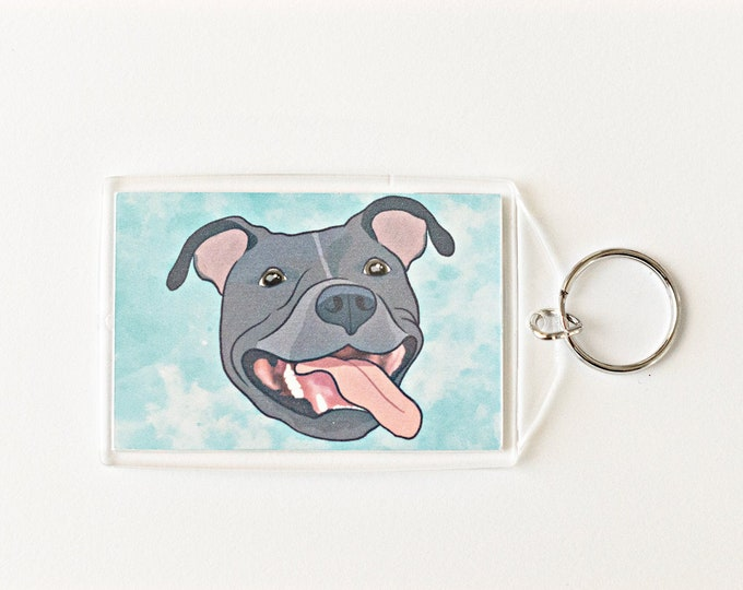 "Grey Pit Bull 2x3"" Keychain Pitbull Key Chain Pittie Mom Lover Gift Accessory"
