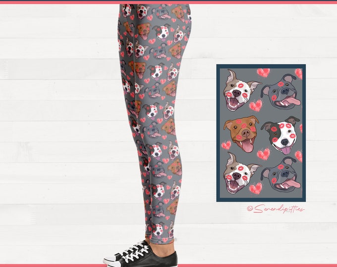Pittie Kisses Pitbull Womens Leggings Brushed Suede Pit Bull Valentines Day Outfit FREE SHIPPING