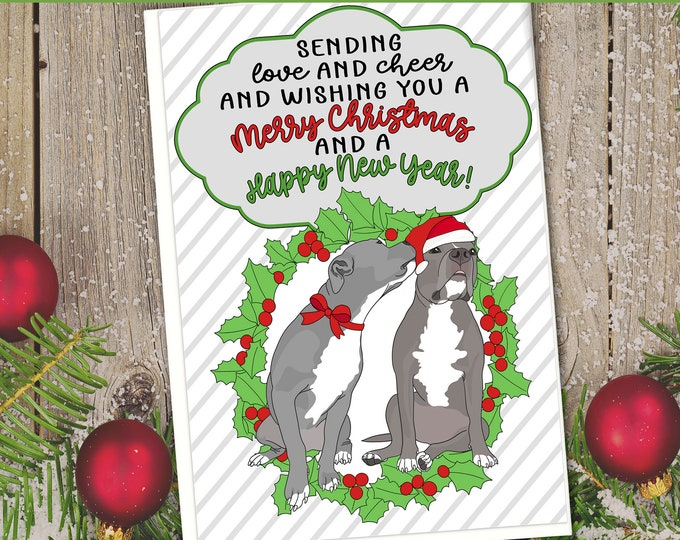 "5x7"" Pit Bull Merry Christmas Happy New Year Card Pit Bull Pitbull Pittie Pibble Pitmas Pitbulls FAST SHIPPING"