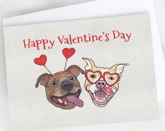 "5x7"" Pit Bull ""Happy Valentine's Day"" Card Pitbull Pittie Greeting Card"