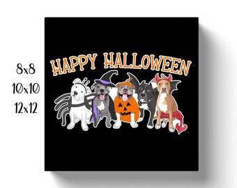Halloween Pitties Square Pit Bull Canvas Wrap Pitbull Print Multiple Sizes