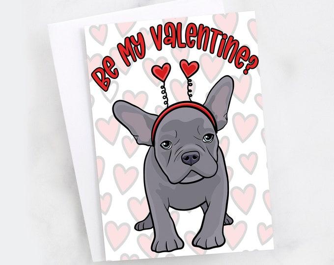 "5x7"" French Bulldog ""Happy Valentine's Day"" Card Frenchie French Bull Dog Greeting Card"