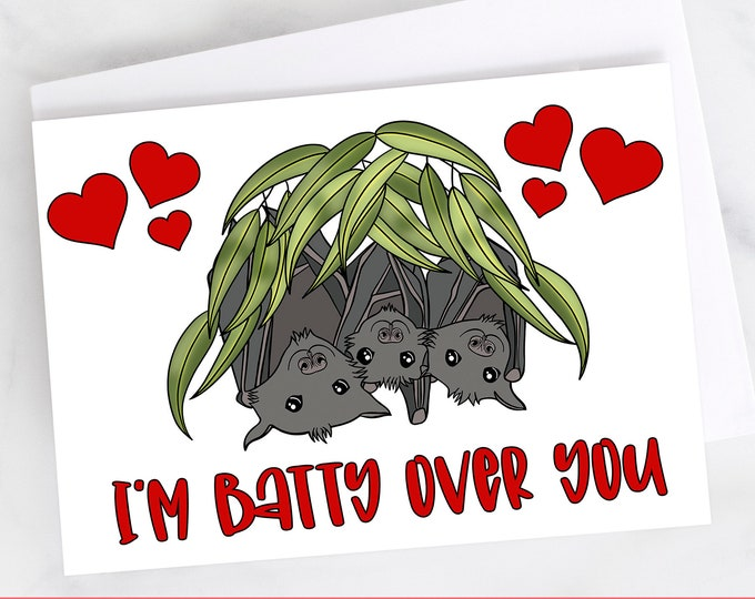 """5x7"""" Cardstock """"I'm Batty Over You"""" Valentine Love Anniversary Card Bats FAST SHIPPING"""