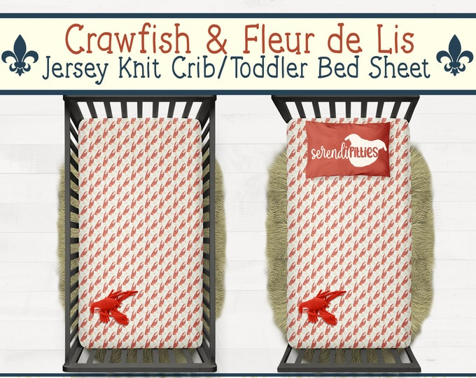 Crawfish Fleur De Lis Toddler Bed or Crib Sheet New Orleans Baby Gift New Orleans Nursery FREE SHIPPING
