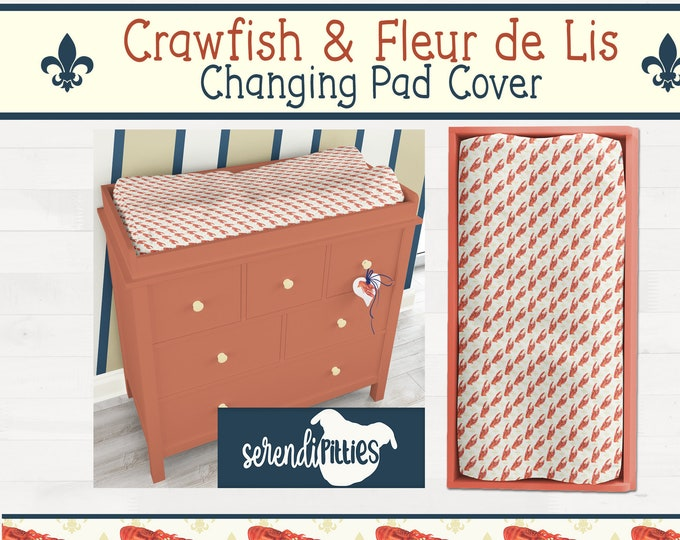 Crawfish Fleur De Lis Changing Pad Cover New Orleans Baby Gift New Orleans Nursery FREE SHIPPING