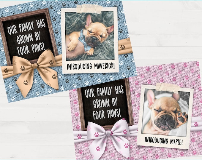 New Puppy Pet Announcement Customized Printable Digital File