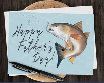 "5x7"" Father's Day Fishing Greeting Card Red Drum Fish Fathers Day Card *FAST SHIPPING*"