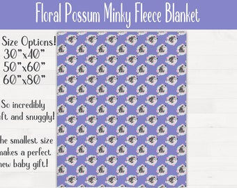 Floral Possum Ultra Soft Minky Throw Blanket Opossum Nursery Baby Shower Gift *Free Shipping*