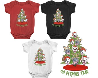 Oh Pitmas Tree Short Sleeve Infant Pitbull Christmas Onesie Pit Bull Baby