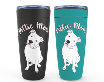 Pittie Mom White Pitbull 20oz Drink Tumbler Pit Bull Birthday Housewarming Wedding Valentine Mothers Day Gift
