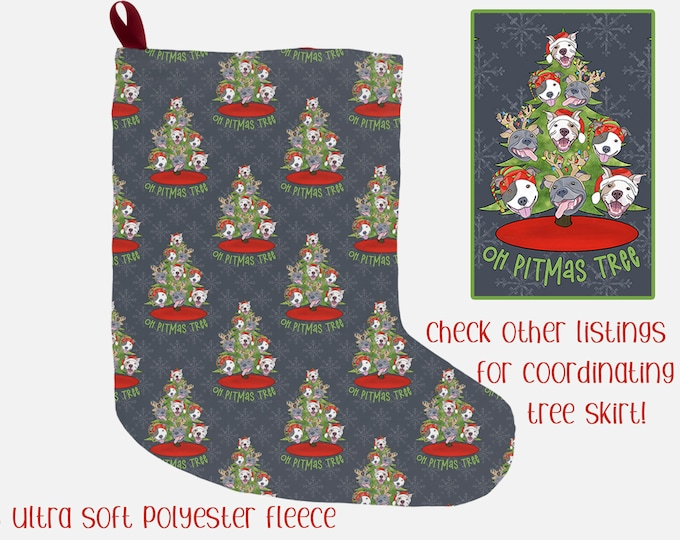 "Christmas Stocking ""Oh Pitmas Tree"" 12x20"" Pit Bull Pitbull Christmas Holiday Pitmas Decor"