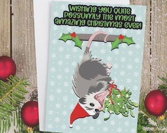 "5x7"" Opossum Christmas Card Possum Holiday Card FAST SHIPPING"