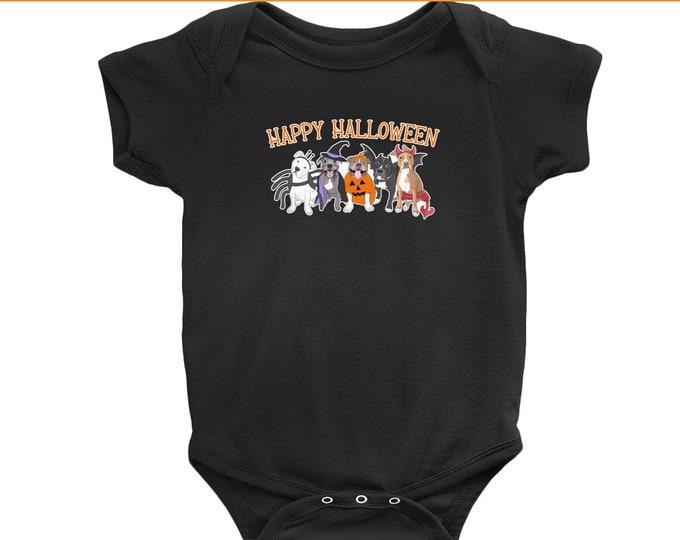 Halloween Pitties Short Sleeve Infant Pitbull Halloween Onesie Pit Bull Baby