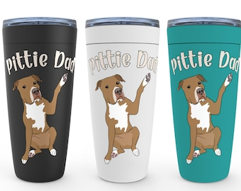 Pittie Dad Red Pitbull 20oz Drink Tumbler Pit Bull Birthday Housewarming Wedding Valentine Fathers Day Gift