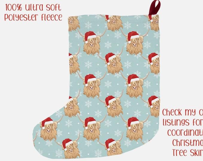 "Christmas Stocking ""Highland Cows"" 12x20"" Highland Cow Santa Hats Farmhouse Christmas Holiday Decor"