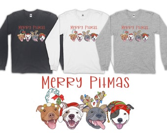 Merry PItmas Pit bull Christmas Pitbull Adult Long Sleeve T-Shirt
