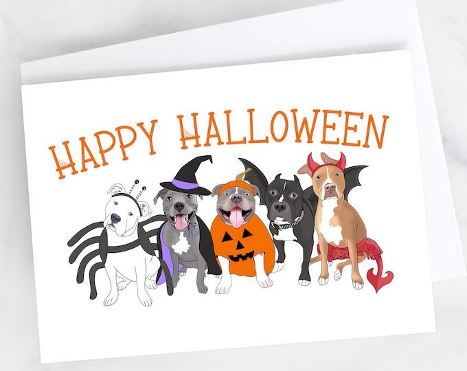 "5x7"" ""Happy Halloween"" Halloween Pitties Card Pit Bull Pitbull Pittie Pibble Pitbulls  FAST SHIPPING"