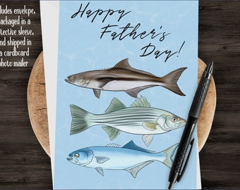 "5x7"" Father's Day Fishing Greeting Card Cobia Bluefish Striper Saltwater Fish Fathers Day Card *FAST SHIPPING*"