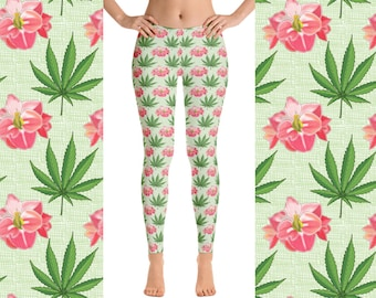 Hemp And Amaryllis Floral Womens Brushed Suede Leggings