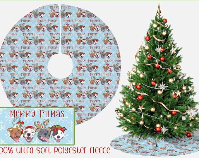 "Christmas Tree Skirt ""Merry Pitmas"" 44"" Pit Bull Pitbull Christmas Holiday Pitmas Decor"