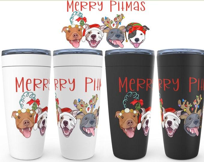 Merry Pitmas Pit Bull 20oz Drink Tumbler Pit Bull Christmas Pitbull Gift