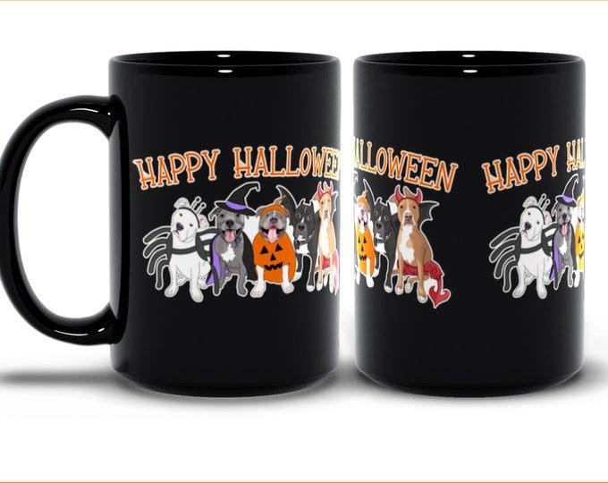 Halloween PItties 15oz Pitbull Coffee Mug Pit Bull Halloween Gift
