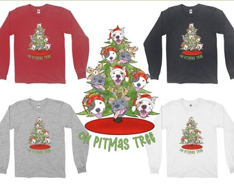 Oh Pitmas Tree Pit bull Christmas Pitbull Adult Long Sleeve T-Shirt