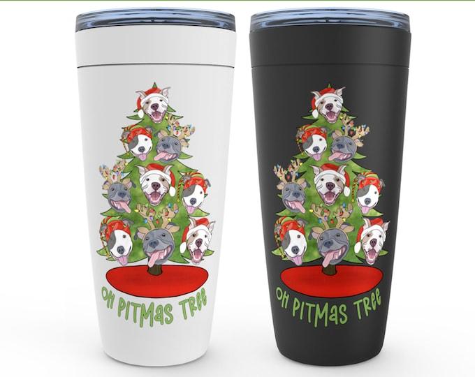 Oh Pitmas Tree 20oz Drink Tumbler Pit Bull Christmas Pitbull Gift