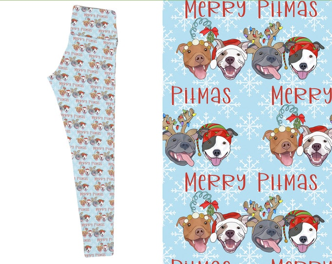 Merry Pitmas Pitbull Womens Brushed Suede Pit Bull Leggings