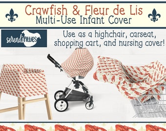 Crawfish Fleur De Lis Nursing Cover Carseat Cover Shopping Cart Cover New Orleans Baby Gift New Orleans Nursery FREE SHIPPING
