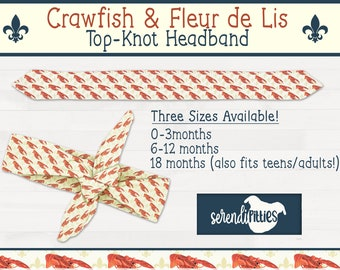 Crawfish Fleur De Lis Top Knot Headband New Orleans Baby Gift New Orleans Apparel FREE SHIPPING